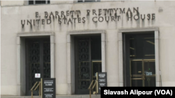 A U.S. federal courthouse in Washington is pictured on August 21, 2018, as it holds an arraignment for an Iranian resident of California, Majid Ghorbani. Authorities arrested him on August 9, 2018, on suspicion of spying for Iran.