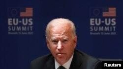 El presidente de Estados Unidos, Jpoe Biden, mientras participaba de la Cumbre UNión Europea-EE. UU. el 15 de junio de 2021.