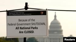 美国政府部分关闭: 国家公园关闭通知