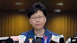 La gouverneure générale de Hong Kong, Carrie Lam, face à la presse à Hong Kong, le lundi 10 juin 2019.