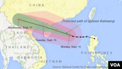 Predicted path of typhoon Kalmaergi