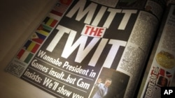 "With the headline ""Mitt the Twit"", The Sun newspaper criticizes comments regarding the London Olympics made by Mitt Romney in London, July 27, 2012."