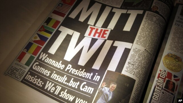 """With the headline """"Mitt the Twit"""", The Sun newspaper criticizes comments regarding the London Olympics made by Mitt Romney in London, July 27, 2012."""