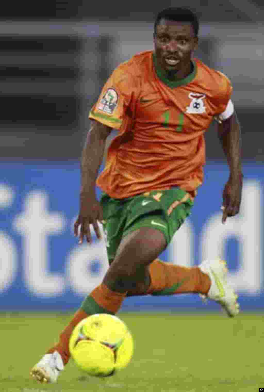 "Zambia's captain Christopher Katongo controls the ball during their African Nations Cup quarter-final soccer match against Sudan at Estadio de Bata ""Bata Stadium"", in Bata February 4, 2012."