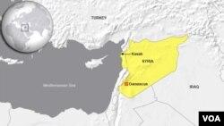 Bản đồ Kasab trong tỉnh Latakia, nơi máy bay chiến đấu Syria bị bắn rơi.