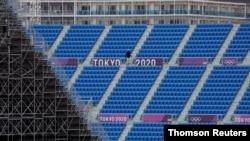 도쿄 올림픽 스케이트보드 경기가 열릴 '아리아케 도심 스포츠 공원'에서 22일 올림픽 경기 진행을 위한 준비가 한창이다.