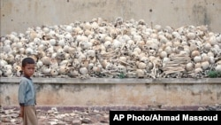 A platform covered with human skulls at a newly discovered Killing Field in Trapeang Sva Village, Kandal province, 25 Kilometers (15 miles) south of Phnom Penh.