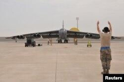FILE - A U.S. Air Force B-52 Stratofortress bomber arrives at Al Udeid Air Base, Qatar, April 9, 2016.