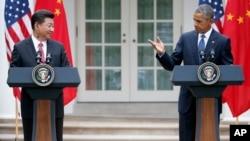美国总统奥巴马与中国国家主席习近平在白宫记者会上(2015年9月25日)