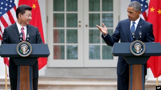 Tổng thống Mỹ Barack Obama và Chủ tịch nước Trung Quốc Tập Cận Bình trong cuộc họp báo chung tại Vườn Hồng Tòa Bạch Ốc, ngày 25/9/2015.