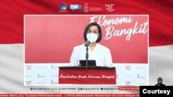 Menkeu Sri Mulyani dalam telekonferensi pers Senin (7/12) di Jakarta. (Foto: VOA)