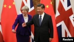 中国国家主席习近平和英国首相特蕾莎·梅在钓鱼台国宾馆(2018年2月1日路透社)