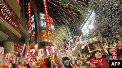 Doček Nove godine na Tajms skveru u Hong Kongu