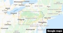 Pennsilvaniya ştatının xəritəsi