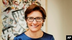 In this undated photo provided by Citigroup, head of Citi's global consumer banking division Jane Fraser poses for a portrait. Citigroup announced Thursday, Sept. 10, 2020, that Fraser would succeed Michael Corbat as the bank's next chief executive, makin