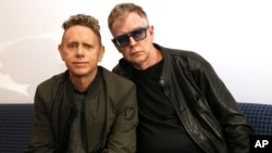 "Martin Gore, left, and Andy Fletcher of Depeche Mode pose for a photo to promote their new album, ""Spirit,"" March 8, 2017."