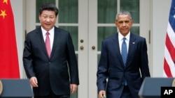 တရုတ္သမၼတ Xi Jinping နဲ႔ အေမရိကန္သမၼတ Barack Obama အိမ္ျဖဴေတာ္သတင္းစာ ရွင္းလင္းပြဲ ။ (စက္တင္ဘာ၊ ၂၀၁၅)