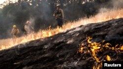 Para petugas berusaha memadamkan kebakaran hutan di Lake County, negara bagian California (foto: dok).