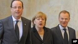 Франсуа Олланд, Ангеле Меркель и Дональд Туск