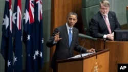 U.S. President Barack Obama addresses the Australian Parliament in Canberra, Australia, Thursday, Nov. 17, 2011.