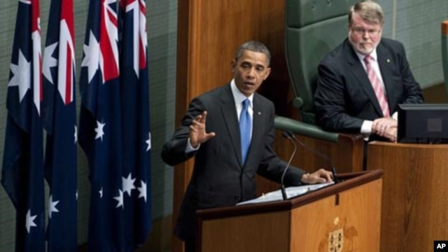 U.S. President Barack Obama addresses the Australian Parliament in Canberra, Australia, Thursday, Nov. 17, 2011.