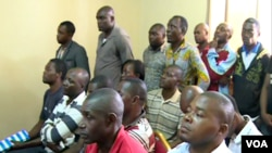 Cameroon workers attend a meeting to declare strike in Matomb, Cameroon, Nov. 4, 2016. (M. Kindzeka/VOA)
