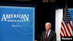 Predsednik Džo Bajden najavljuje promene u programu federalne pomoći malim biznisima za vreme pandemije, 22. februara 2021. (Foto: Reuters/Jonathan Ernst)