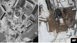 Dua foto satelit reaktor nuklir Korea Utara di Yongbyon yang diperkirakan akan selesai sebelum akhir tahun 2013 (foto: dok).