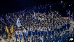 2018 자카르타·팔렘방 아시안 게임 개회식에서 한국과 북한이 '코리아'라는 이름으로 공동 입장하고 있다.