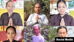 Bùi Văn Trung, Bùi Văn Thâm, Lê Thị Hên, Bùi Thị Bích Tuyền, Nguyễn Hoàng Nam, Lê Hồng Hạnh. (HRW/Facebook Đạo Tràng Út Trung)