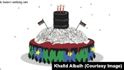 A cartoon birthday cake by Sudanese cartoonist Khalid Albaih to mark the third anniversary of South Sudan's independence on July 9, 2014.