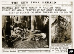 """Hundred and Fifty Perish in Factory Fire; Women and Girls, Trapped in Ten Story Building, Lost in Flames or Hurl Themselves to Death,"" New York Herald, March 26, 1911"