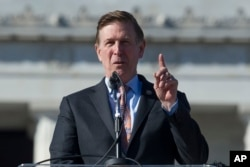 Rep. Don Beyer, D-Va., addresses the Women's March rally at the Lincoln Memorial in Washington, Jan. 20, 2018.
