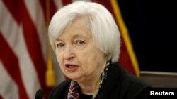 Kepala Bank Sentral AS, Janet Yellen dalam pertemuan Bank Sentral di Washington DC (foto: dok).