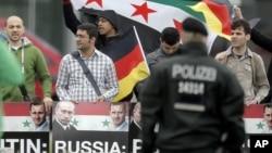 Демонстрация против поддержки Россией режима в Сирии