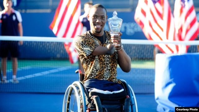 Lucas Sithole won the wheelchair quad singles final in September at the U.S.Open and hopes to play in the 2016 Paralympics in Brazil. (Courtesy U.S. Tennis Association)