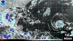 NOAA satellite image of Hurricane Irma, Sept. 4, 2017.