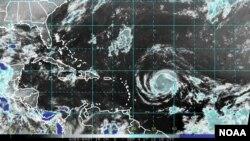 Amasanamu ya Satelite yerekana igihuhusi Irma.