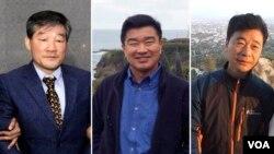 북한에 억류된 한국계 미국인 김동철(왼쪽부터), 김상덕, 김학송 씨. 김동철 씨는 2015년 10월 체포된 후 간첩 혐의로 노동교화형 10년을 선고 받고 복역 중이며, 김상덕 씨와 김학송 씨는 각각 2017년 4월과 5월 억류됐다. (KCNA via AP, Courtesy Photos)