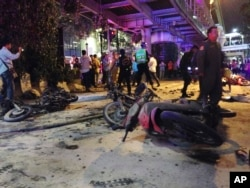 Motorcycles are strewn about after an explosion in Bangkok, Aug. 17, 2015.