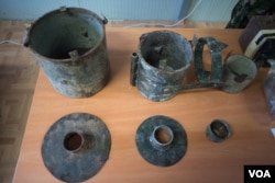 Remnants of defused IEDs on display in an office in the AMISOM base in Mogadishu, Sept. 21, 2016. (Photo: J. Patinkin/VOA)