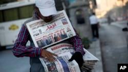 Un vendeur de journaux égyptien au Caire, Égypte, 9 novembre 2016.