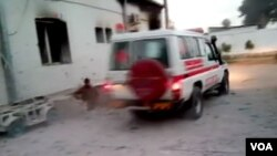Image taken from video of ambulance passing by MSF hospital in Kunduz, Afghanistan.