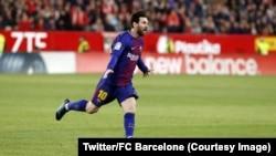 Lionel Messi a remonté in extremis deux buts de retard à Séville, 31 mars 2018.