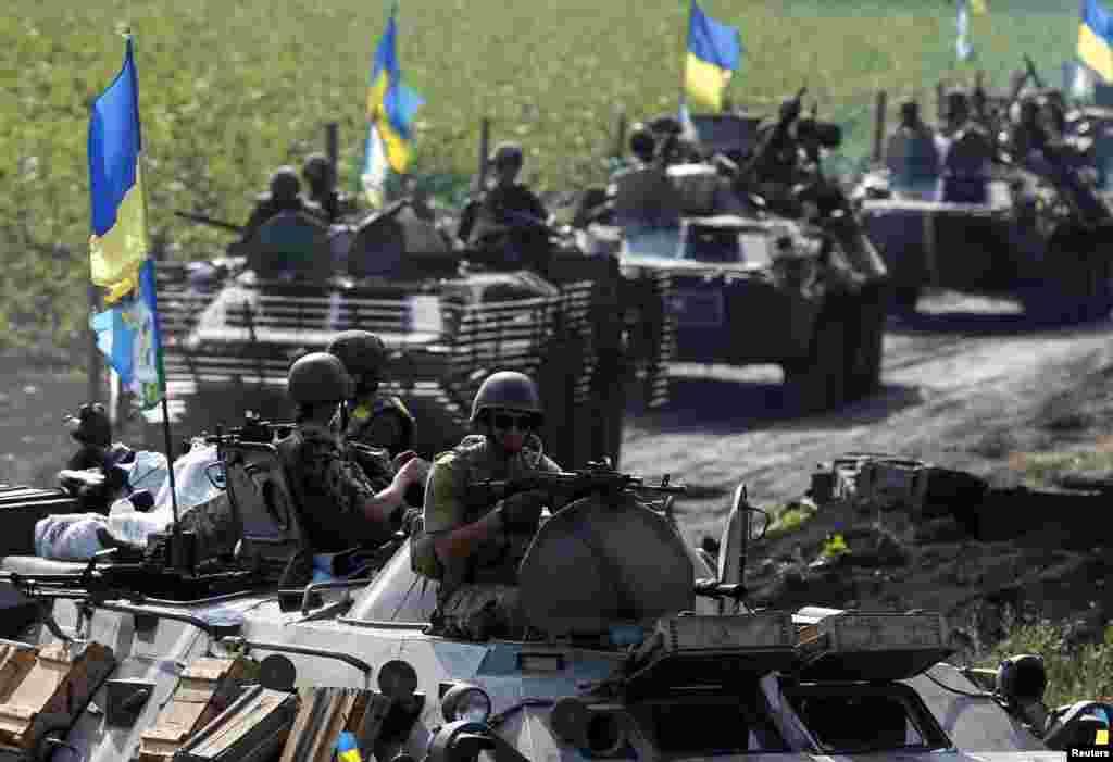 Ukrainian troops are pictured near Slovyansk, July 11, 2014.
