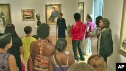 Taylor Marsh performs for visitors at the National Portrait Gallery in Washington, D.C.