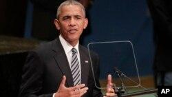 바락 오바마 미국 대통령이 20일 뉴욕 유엔본부에서 열린 71차 유엔총회에서 기조연설을 하고 있다.
