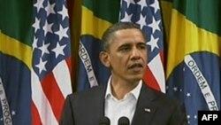 Президент Барак Обама під час звернення до бразилійської нації у Ріо-де-Жанейро