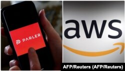 U tužbi podnetoj Okružnom sudu u gradu Sijetlu kompanija Parler je naveo da joj je Amazon naneo žestok udarac prekidom usluga veb hostinga – nakon što su Epl (Apple) i Gugl (Google) prekinuli distribuciju njihove aplikacije. (Foto: AFP/Reuters)