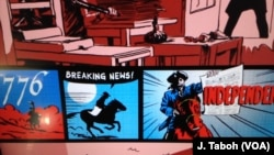 Pameran di Newseum di Washington menyoroti berita-berita utama di Hari Kemerdekaan tahun 1776.
